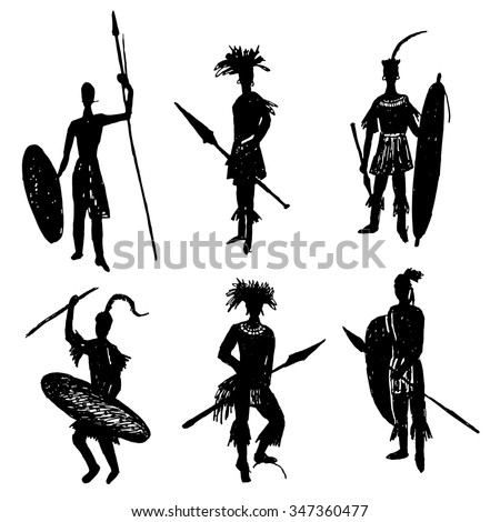 African tribal warriors in the battle suit and arms drawing sketch hand drawn vector illustration - stock vector