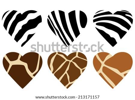 african wild animals hide print hearts - zebra and giraffe vector design elements - stock vector