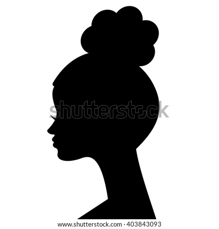 African woman face silhouette. Young attractive modern girl profile sign logo. Vector Illustration - stock vector