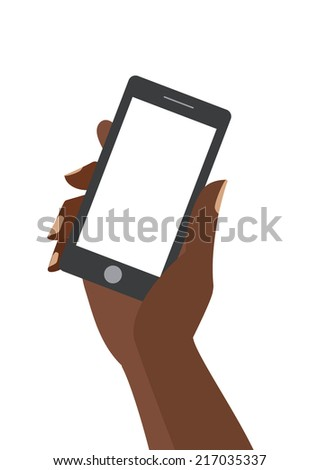 African woman hand holing black smartphone with blank white screen. Using mobile smart phone similar to iphon, flat design concept. Eps 10 vector illustration - stock vector