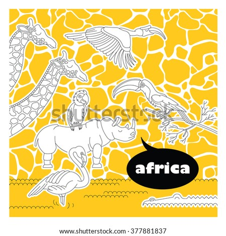 African zoo animals and birds set. Vector zoo animals and birds made in flat lineal style. Zoo animals and birds isolated on giraffe texture background..Vector zoo animals and birds background. - stock vector