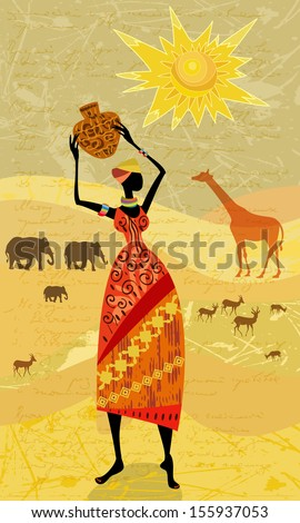 Africans on the vintage background for your design - stock vector
