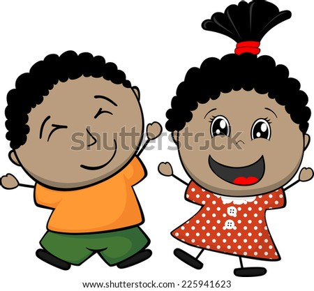 Afro American happy children isolated on white background - stock vector