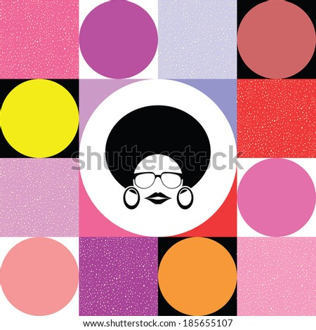 afro lady on colorful retro background vector - stock vector