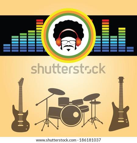 afro man listen music vector - stock vector