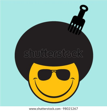 Afro Smiley Face - stock vector