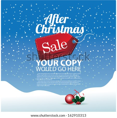 After Christmas sale background template. EPS 10 vector, grouped for easy editing. No open shapes or paths. - stock vector