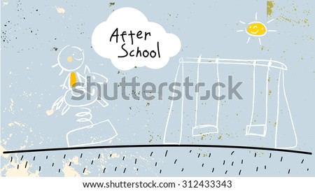 After school activities, kid at playground. Vector concept doodle style hand drawn illustration.  - stock vector