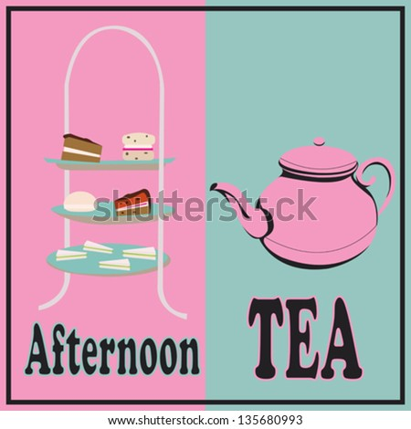 Afternoon Tea, vector retro background with a cake-stand and a teapot for a tea-party - stock vector