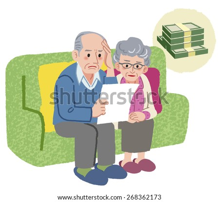 Aged couple sitting on the sofa and checking bills - stock vector
