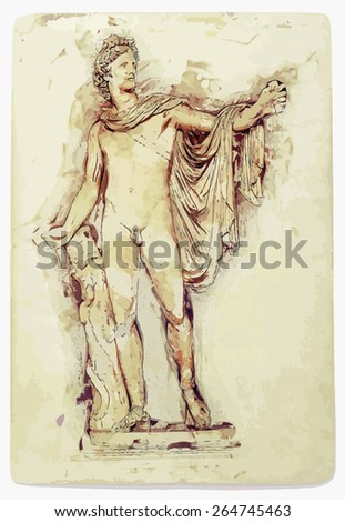 Aged painting of Apollo Belvedere statue. - stock vector