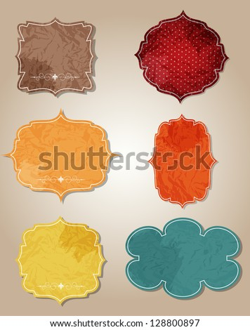aged paper labels vector illustration - stock vector