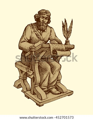 Aged person in period costume in century interior: wooden stand table, chair-stool. Freehand outline hand drawn picture sketch in art retro style. Side view with space for text on beige background - stock vector