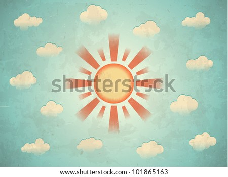 Aged raster printed card with sun and clouds - stock vector