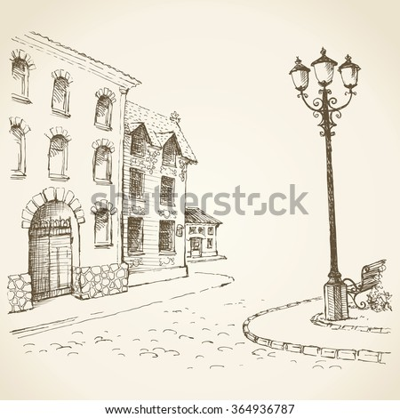 Aged romantic downtown square place with medieval edifice near stone road with space for text on sky backdrop. Freehand outline ink hand drawn picture sketchy in art scribble style pen on paper - stock vector