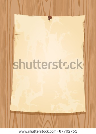 aged vintage paper on wooden background - stock vector