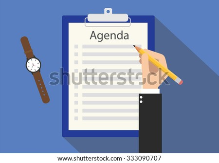 agenda meeting to do list on clipboard - stock vector