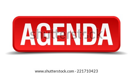 Agenda red three-dimensional square button isolated on white background - stock vector