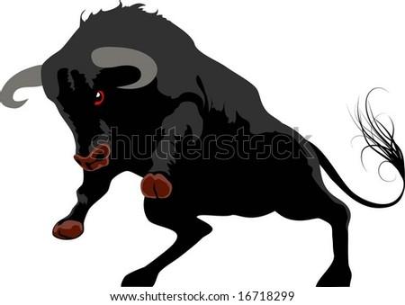 aggressive bull - stock vector