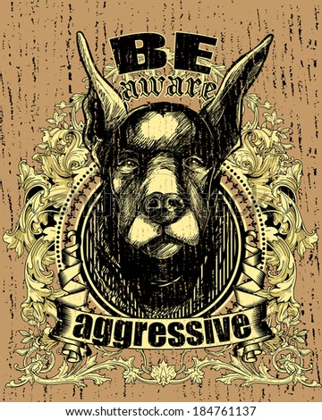 Aggressive dog - stock vector