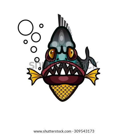 Aggressive piranha fish - stock vector