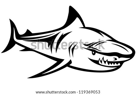 aggressive shark black and white vector outline - stock vector