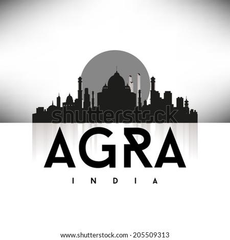 Agra India Black Skyline Silhouette vector illustration, Typographic design. - stock vector