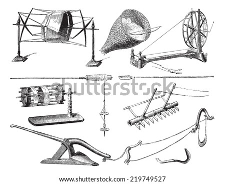 Agricultural and textile utensils in Laos, vintage engraved illustration. Le Tour du Monde, Travel Journal, (1872).  - stock vector