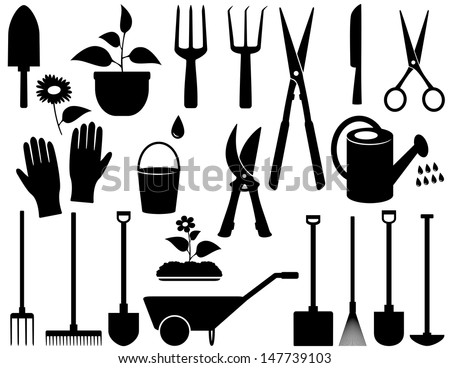 agricultural set with black isolated garden tools - stock vector