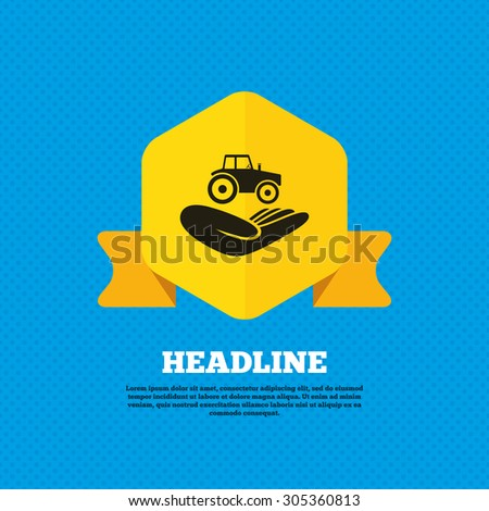 Agricultural transport insurance sign icon. Hand holds tractor. Protection vehicle from damage and accidents. Yellow label tag. Circles seamless pattern on back. Vector - stock vector