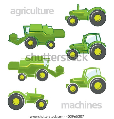 Agricultural vehicles in colors on isolated background - stock vector