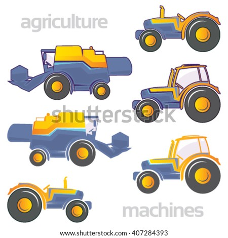 Agricultural vehicles in purple and yellow colors on isolated background - stock vector