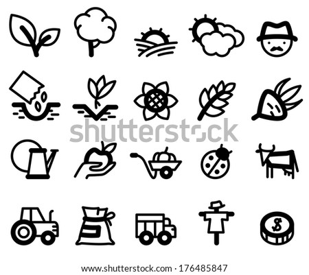 Agriculture and farm minimalistic icons set - stock vector