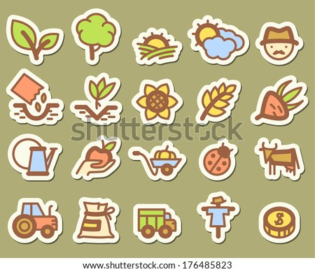 Agriculture and farm stickers icons set - stock vector