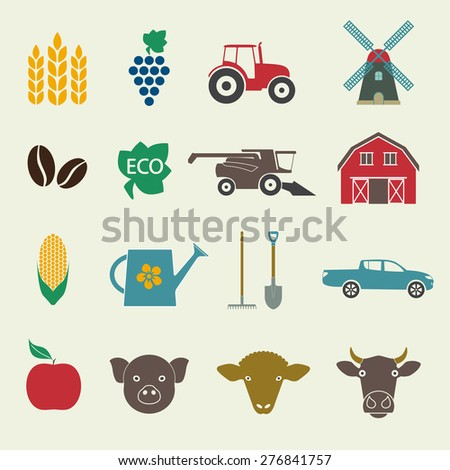 Agriculture and farming icon set. Colorful icons in flat style. Vector illustration. - stock vector