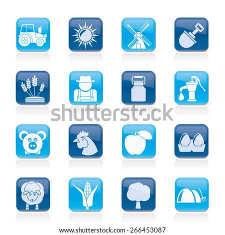 Agriculture and farming icons - vector icon set - stock vector