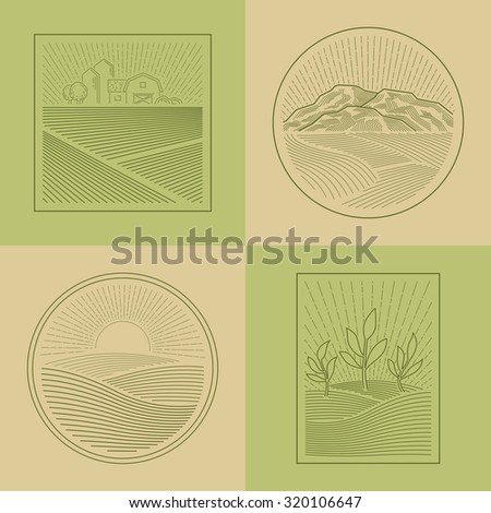 Agriculture Fields Farmland Line Style Design Elements   - stock vector