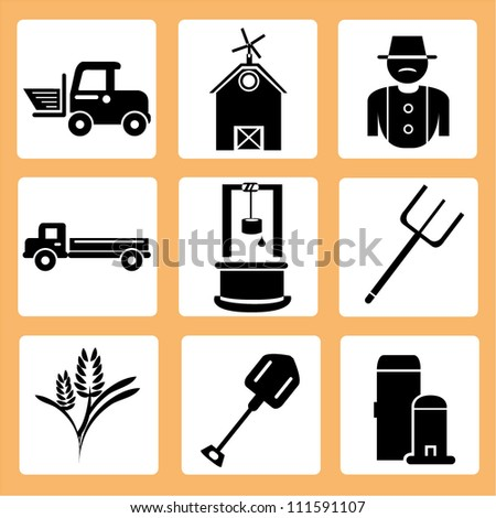 agriculture icon set, countryside - stock vector