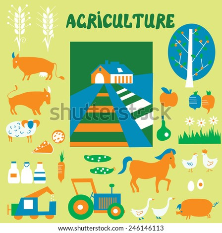 Agriculture icons and pictures set - hand drawn funny style  - stock vector