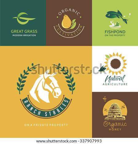 Agriculture logo design templates - stock vector