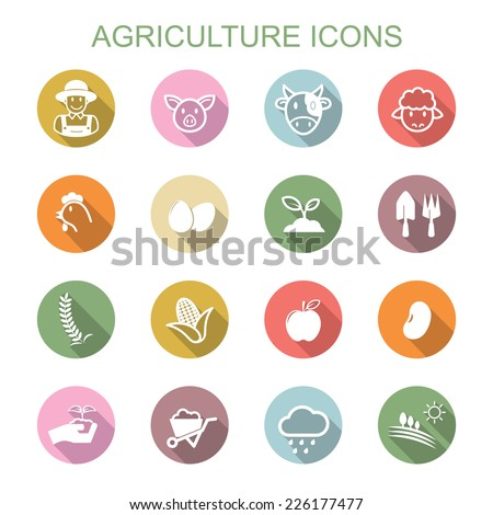 agriculture long shadow icons, flat vector symbols - stock vector