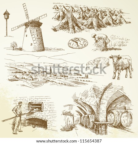 agriculture, rural village - stock vector