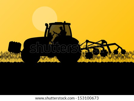 Agriculture tractor cultivating the land in cultivated country grain field landscape background illustration vector - stock vector