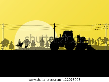 Agriculture tractor sowing crop in cultivated country field landscape background illustration vector - stock vector