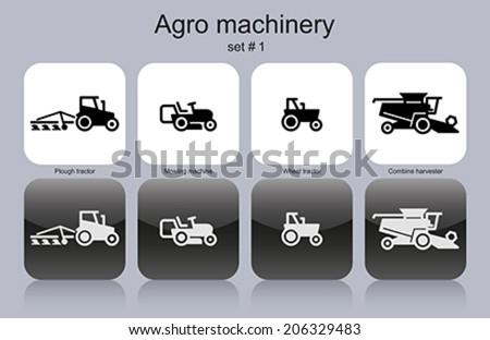 Agro machinery in set of monochrome icons. Editable vector illustration. - stock vector