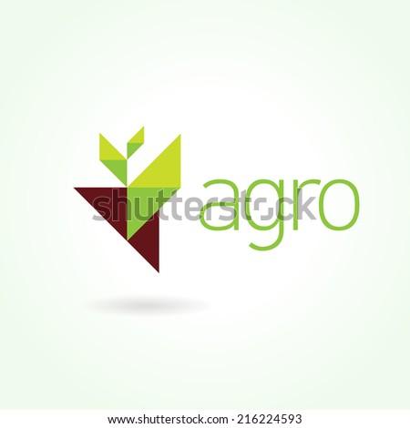 Agro symbol emblem sign. Leaf green - stock vector
