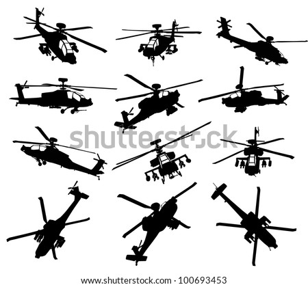 AH-64 Apache Longbow helicopter silhouettes set. Vector on separate layers - stock vector