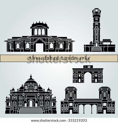 Ahmedabad landmarks and monuments isolated on blue background in editable vector file - stock vector