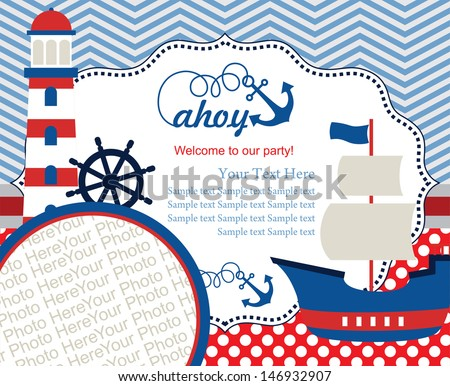 ahoy party invitation card with place for photo. vector illustration - stock vector