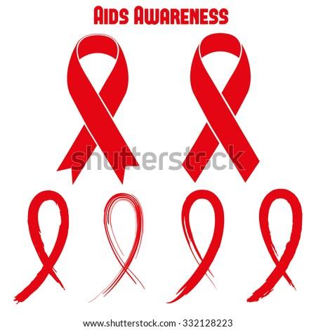 Aids Awareness Red Ribbon - stock vector